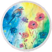 Blue Bird And Flowers Round Beach Towel