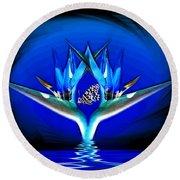 Blue Bird Of Paradise Round Beach Towel