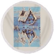 Blue Birdhouse  Round Beach Towel