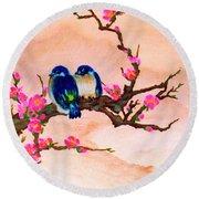 Blue Birds And Plum Blossoms #48 Round Beach Towel