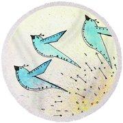 Blue Birds In Flight Round Beach Towel