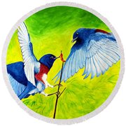 Blue Birds Round Beach Towel