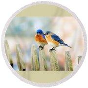 Blue Birds Round Beach Towel
