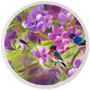 Blue Birds With Azalea Round Beach Towel