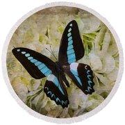 Blue Black Butterfly Dreams Round Beach Towel