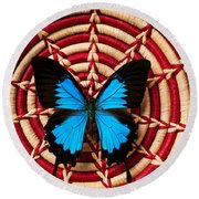 Blue Black Butterfly In Basket Round Beach Towel