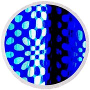 Blue Black Pattern Abstract Round Beach Towel