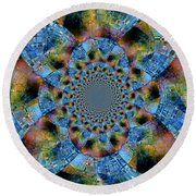 Blue Bling Round Beach Towel