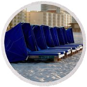 Blue Blocker Round Beach Towel