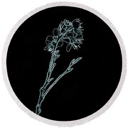 Blue Blossoming Branch In Prayer Round Beach Towel