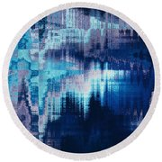 blue blurred abstract background texture with horizontal stripes. glitches, distortion on the screen broadcast digital TV satellite channels Round Beach Towel