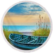 Blue Boat At Dawn Watercolors Painting Round Beach Towel