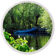 Blue Boat Cong Ireland Round Beach Towel