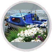 Blue Boat With Daisies Round Beach Towel