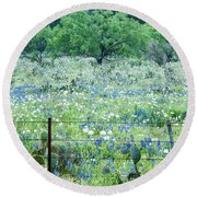 Blue Bonnets,poppies And Willow Tree 2 Round Beach Towel