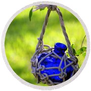 Small Blue Bottle Garden Art Round Beach Towel