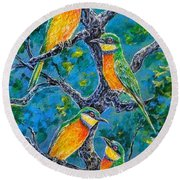 Blue Breasted Bee Eater Round Beach Towel