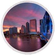 Blue Bridge Red Sky Jacksonville Skyline Round Beach Towel