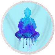 Blue Buddha Watercolor Painting Round Beach Towel