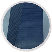 Blue Building Round Beach Towel