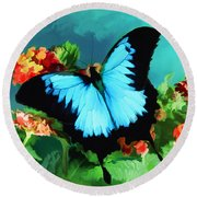 Blue Butterfly On Lantana Plant Oil Painting Round Beach Towel