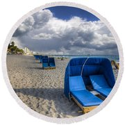 Blue Cabana Round Beach Towel