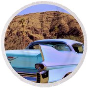 Blue Cadillac Round Beach Towel