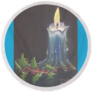 Blue Candle Round Beach Towel