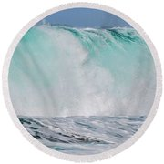 Blue Cascade   Hawaiian Wave Round Beach Towel