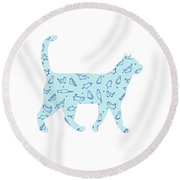 Blue Cat Cat Round Beach Towel