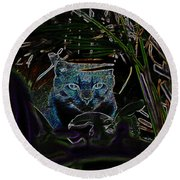Blue Cat In The Garden Round Beach Towel