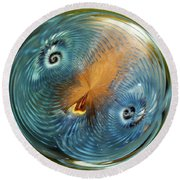 Blue Christmas Round Beach Towel