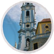 Blue Church Tower In Durnstein Round Beach Towel