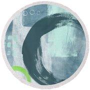 Blue Circles 2- Art By Linda Woods Round Beach Towel
