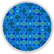 Blue Circles Abstract Art By Sharon Cummings Round Beach Towel