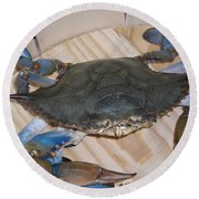Blue Claw Crab Round Beach Towel