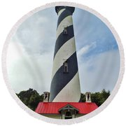 Blue Clouds At The Lighthouse Round Beach Towel