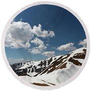 Blue Cloudy Sky Over Spring Tatra Mountains, Poland, Europe Round Beach Towel