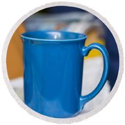 Blue Coffee Cup Round Beach Towel