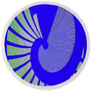 Blue Colored Metal Panel Tempe Center For The Arts Abstract Round Beach Towel