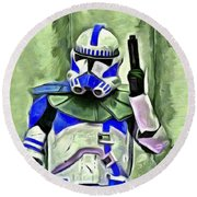 Blue Commander Stormtrooper At Work - Pa Round Beach Towel