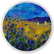 Blue Cornflowers Round Beach Towel