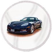 Blue Corvette Round Beach Towel