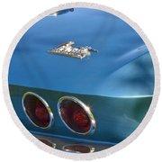 Blue Corvette Stingray Round Beach Towel