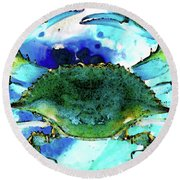 Blue Crab - Abstract Seafood Painting Round Beach Towel