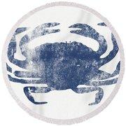 Blue Crab- Art By Linda Woods Round Beach Towel