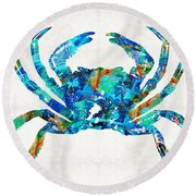 Blue Crab Art By Sharon Cummings Round Beach Towel