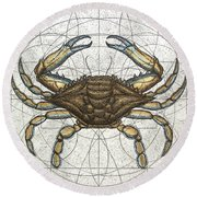 Blue Crab Round Beach Towel by Charles Harden