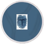 Blue Cross Round Beach Towel