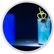 Blue Curacao Cocktail Drink With Cherry Round Beach Towel
